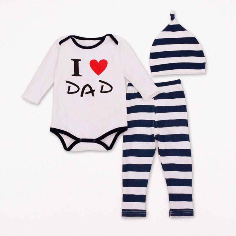 2019 Børnetøjssæt Bomuld 4Style Børnetøj Love DAD & MOM Langærmet & Bukser & hat Mode Børn 1Sæt Gratis forsendelse HB015