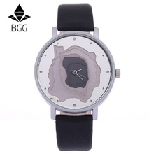 2017 BGG Brand New Design Fashion Watches Women Dial Unique Leather Strap Wristwatches Creative Female Quartz Clock Woman Clock