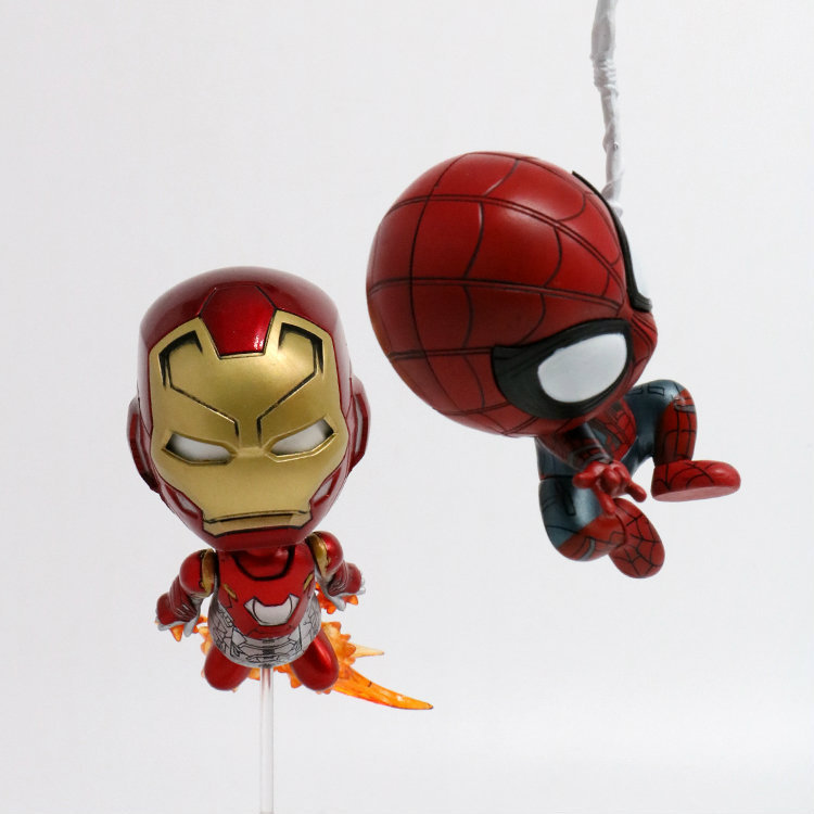 COSBABY MARVEL SpiderMan Homecoming Iron Man & Spiderman Bobble Head Dolls Figures PVC Action Figure Toys Collectible Set 2-pack
