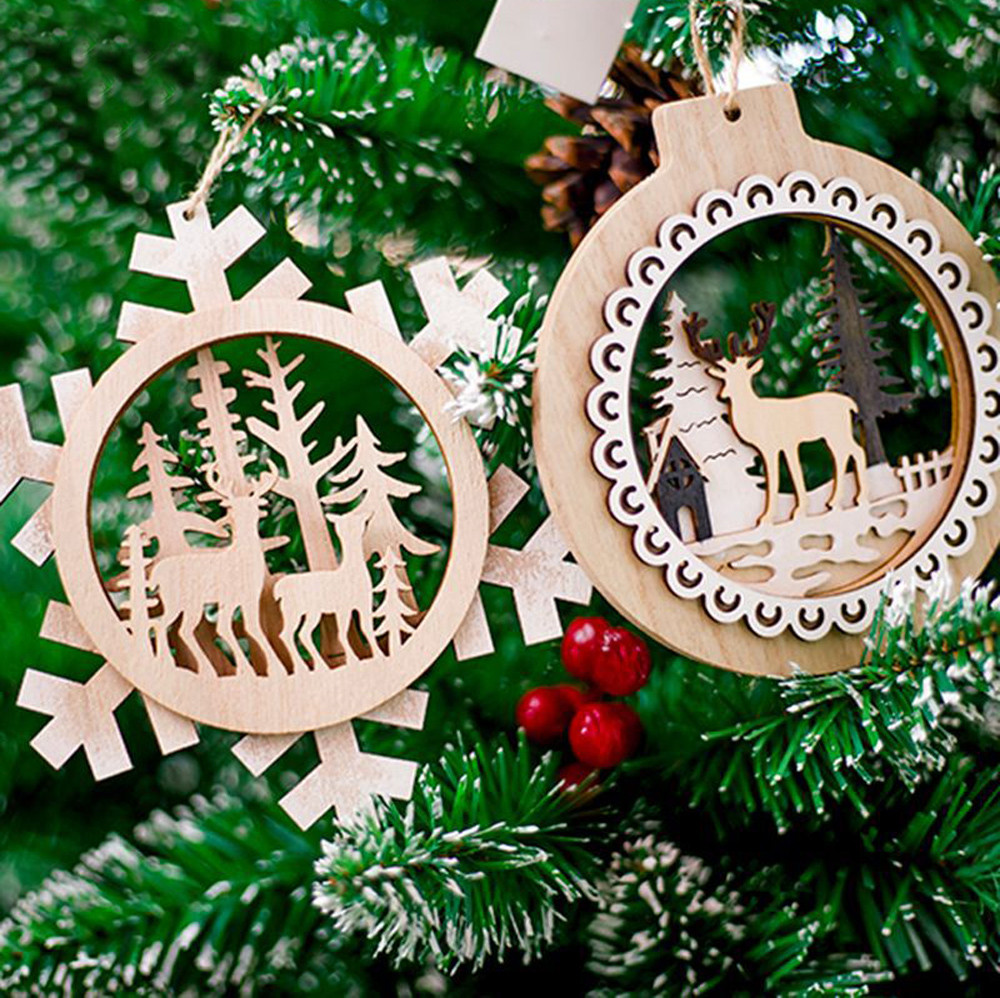 2018 New Snowflake Wooden Embellishments Rustic Merry Christmas Tree Hanging Ornament Drop ...