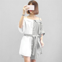 Women Sexy Off Shoulder Patchwork Striped Skirt Spaghetti Strap Bow Tie Short Sleeve Casual Summer Skirt Party Beach vestidos