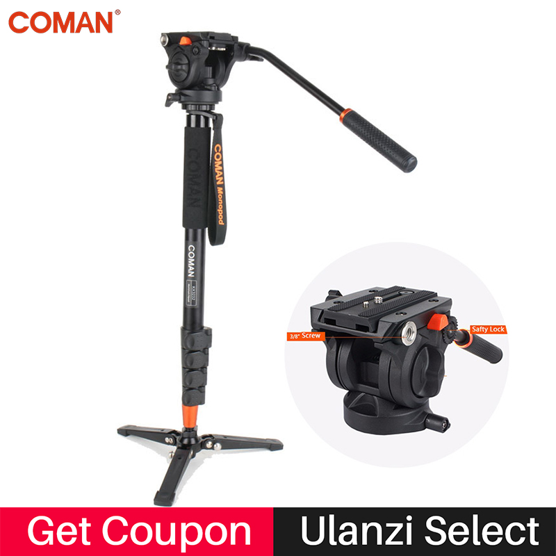 Coman Photography Camera Tripod Aluminum Monopod Fluid Video Head with Three feet Support Stand for Nikon Canon Sony Pentax DSLR цена 2017