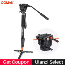 Coman Photography Camera Tripod Aluminum Monopod Fluid Video Head with Three feet Support Stand for Nikon