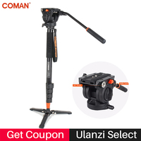 Coman Photography Camera Tripod Aluminum Monopod Fluid Video Head with Three feet Support Stand for Nikon Canon Sony Pentax DSLR