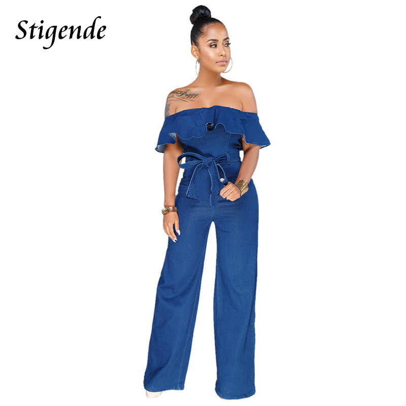 32b8fba9c340 Stigende Women Full Length Jeans Denim Jumpsuits Rompers Wide Leg Off  Shoulder Ruffle Jumpsuit Elegant Back