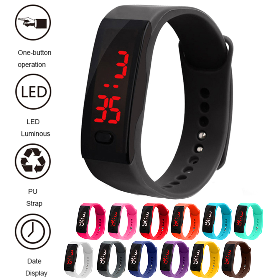 Children Watches Kids LED Digital Sport Watch Boys Girls Men Women PU Electronic Clock Bracelet Wrist Watch For Child Reloj Nino