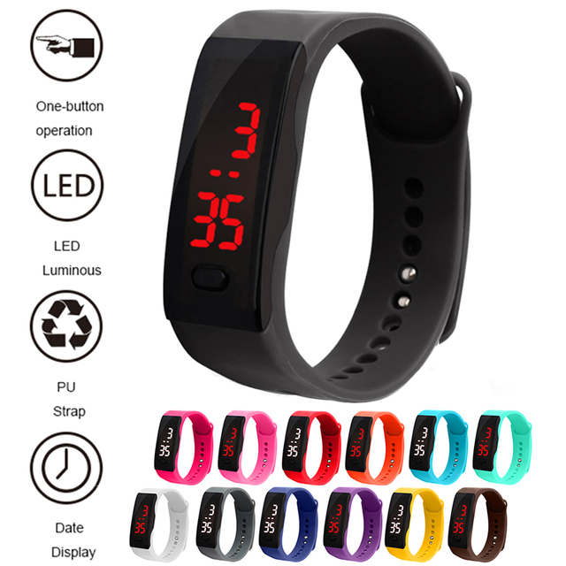 Children Watches Kids LED Digital Sport Watch Boys Girls Men Women PU Electronic
