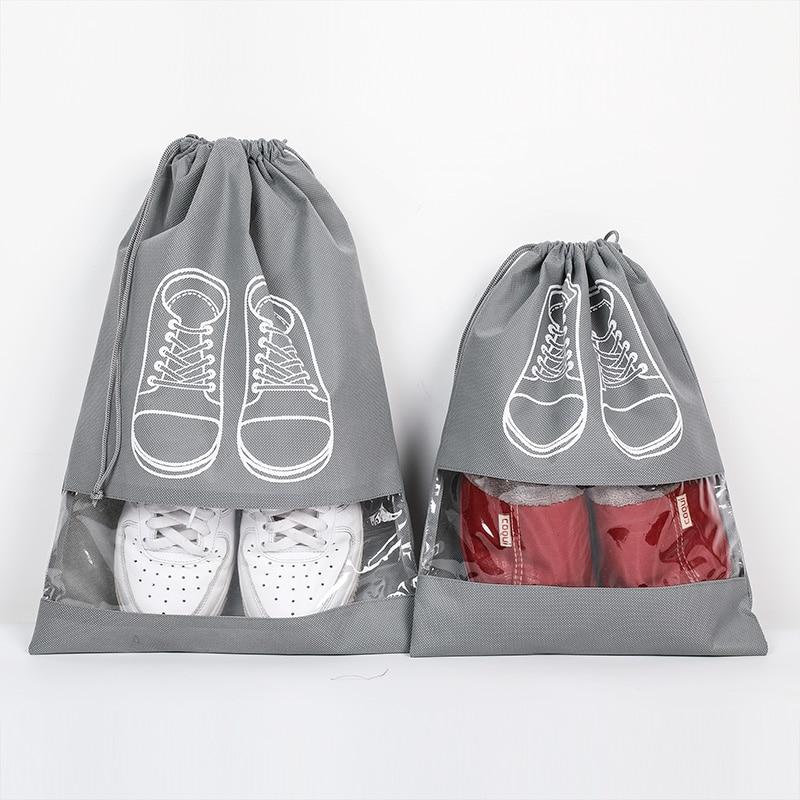 Waterproof Shoes Bag Travel Portable Dustproof Shoe Storage Bag Organize Tote Drawstring Bag Non-Woven Organizador
