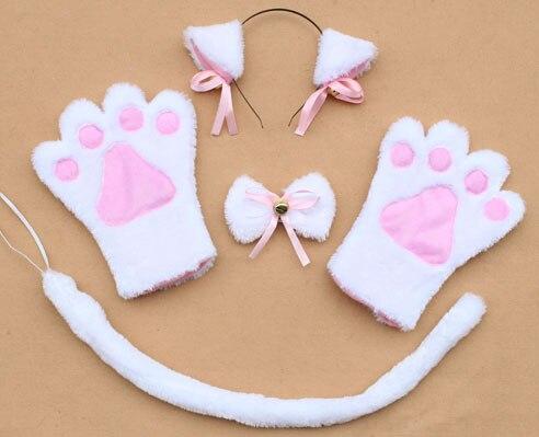 Повязка на голову с ушками neko в виде животных, белого, черного цвета, кота, тигра, аниме, хвоста 60 см, плюшевые перчатки, рождественские, пасхальные, вечерние, для взрослых и детей - Цвет: style 11
