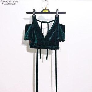 Image 4 - Belly Dance Velvet Fat Chance Tribal Choli Belly Dance Costume Short Drop Sleeve Top women top CJJ21