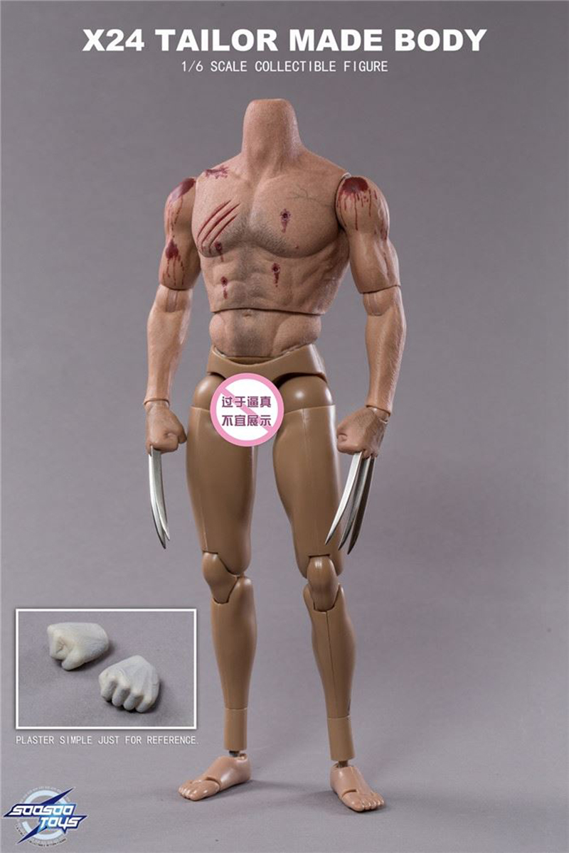 with 2 heads Whole set figure for Collection 1/6 Logan angry head scuplt+Sturdy Male X24-Tailor made body Action Figure 1