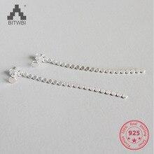 2018 Flat Beads Long Earrings 925 Sterling Silver Earrings For Women Tassel Earrings Wedding Jewelry 925 sterling silver willow leaves tassel long earrings for women luxury lady party fashion jewelry flyleaf
