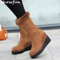 Women's genuine suede leather wedge platform winter waterproof snow boots brand designer cold weather mid calf short boots shoes