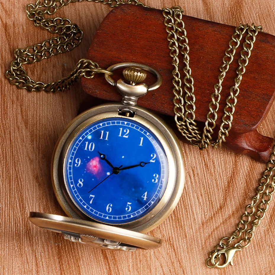 Hot Selling Classic The Little Prince Movie Planet Blue Bronze Vintage Quartz Pocket FOB Watch Popular Gifts for Boys Girls Kids 2019 2020 2021 2022 2023 2024 (7)