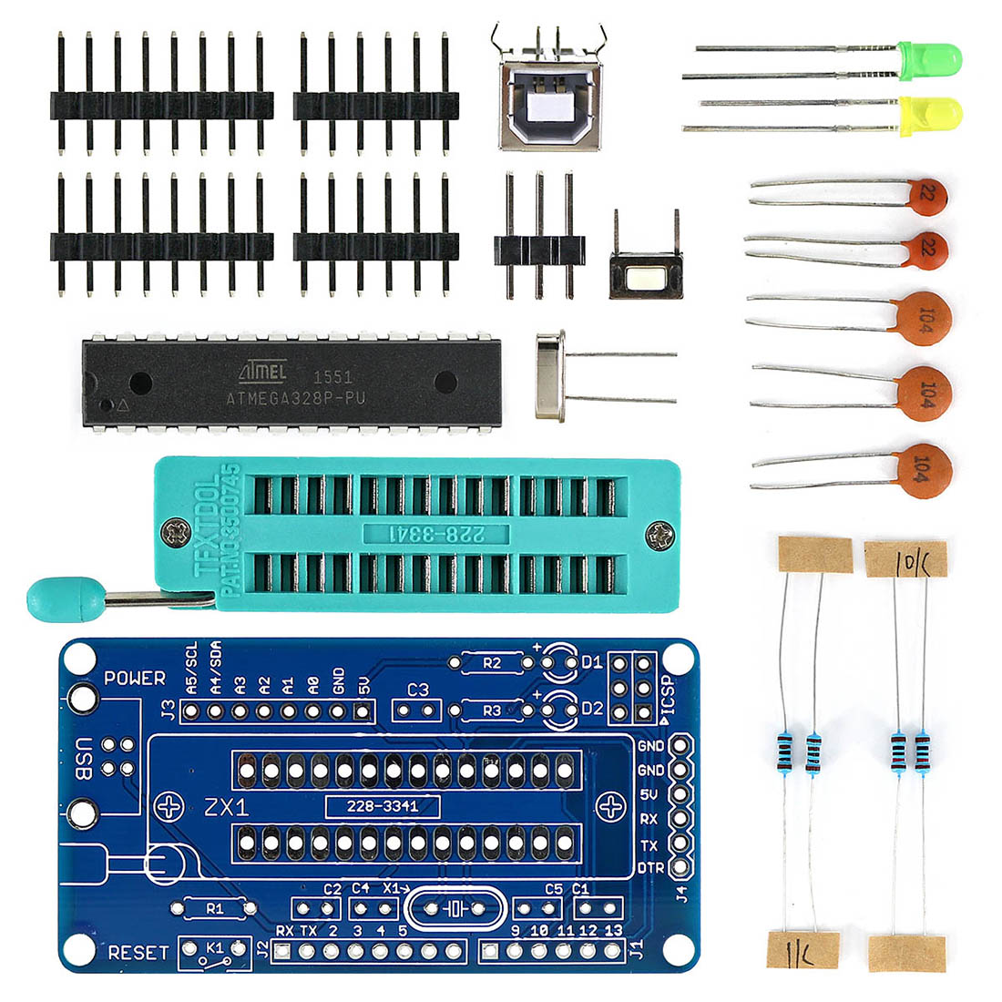 MODIKER Diy Programmable Kit For UNO R3 For ATmega328P Development Board DIY Soldering Parts With Soldering Tutorial For Arduino