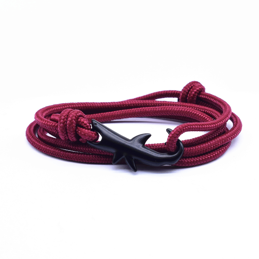 13 Colors Nylon Rope Chain Bracelets for Women Men Ocean Shark Charm Bracelet Popular Jewelry Anchor Bracelet 2018 Hot Sale in Charm Bracelets from Jewelry Accessories