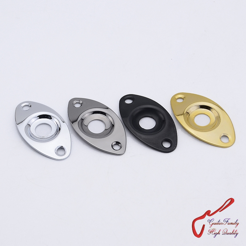 1 Piece GuitarFamily Oval Curved  Metal Jack Plate For Electric Guitar  Bass  ( #0420 ) MADE IN KOREA
