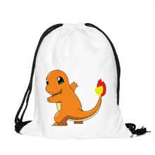 3D Printing Pokemon Backpack Charmander Cartoon Women's Mochila Escolar Game Drawstring Bag Men's Backpack for Teenagers