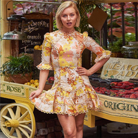 2019 Spring Summer Fashion New Designer Boho style floral print flare sleeve womens vacation beach dresses mini vestidos
