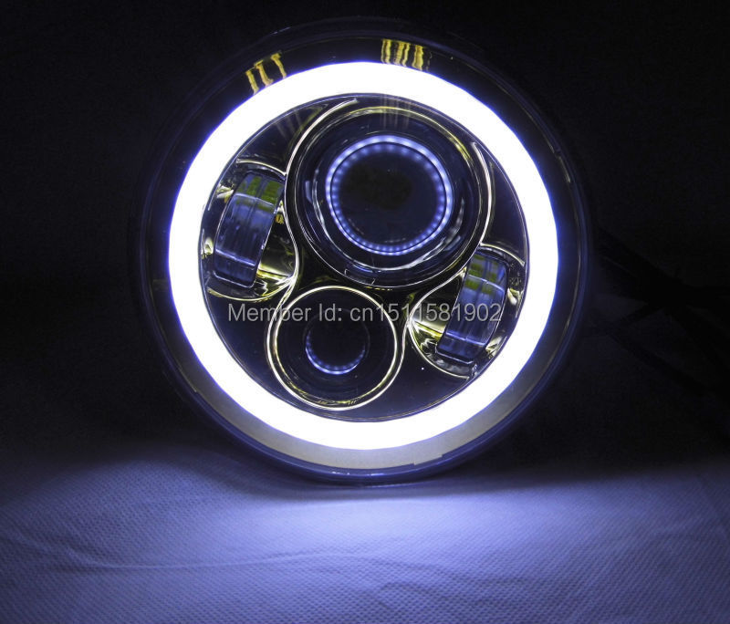 7 pouces H4 H13 40 W phare LED avec ange yeux H/L faisceau moto phare pour Harley Chopper café Racer bleu