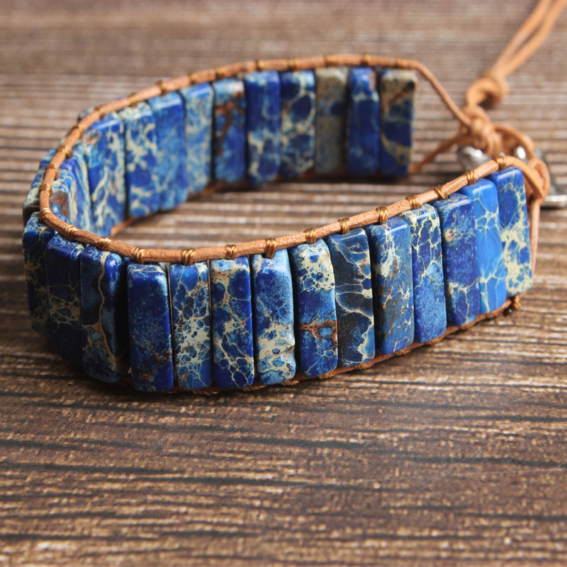 LanLi natural Jewelry lazurite The emperor stone Rectangular prism knit bracelet men and women Giving presents and self use in Chain Link Bracelets from Jewelry Accessories