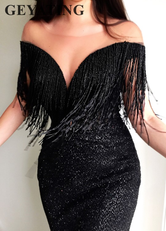 Sparkly Black Sequins Beading Tassel   Evening     Dress   Mermaid Long Prom   Dresses   2019 Illusion Off Shoulder Arabic Formal Party Gown