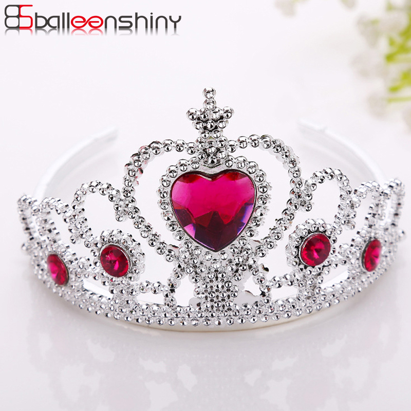 BalleenShiny Princess Crown Headwear Hair Ornament Baby Girls Fashion Silver Plastic Hair Accessories Children Kids Photo Prop