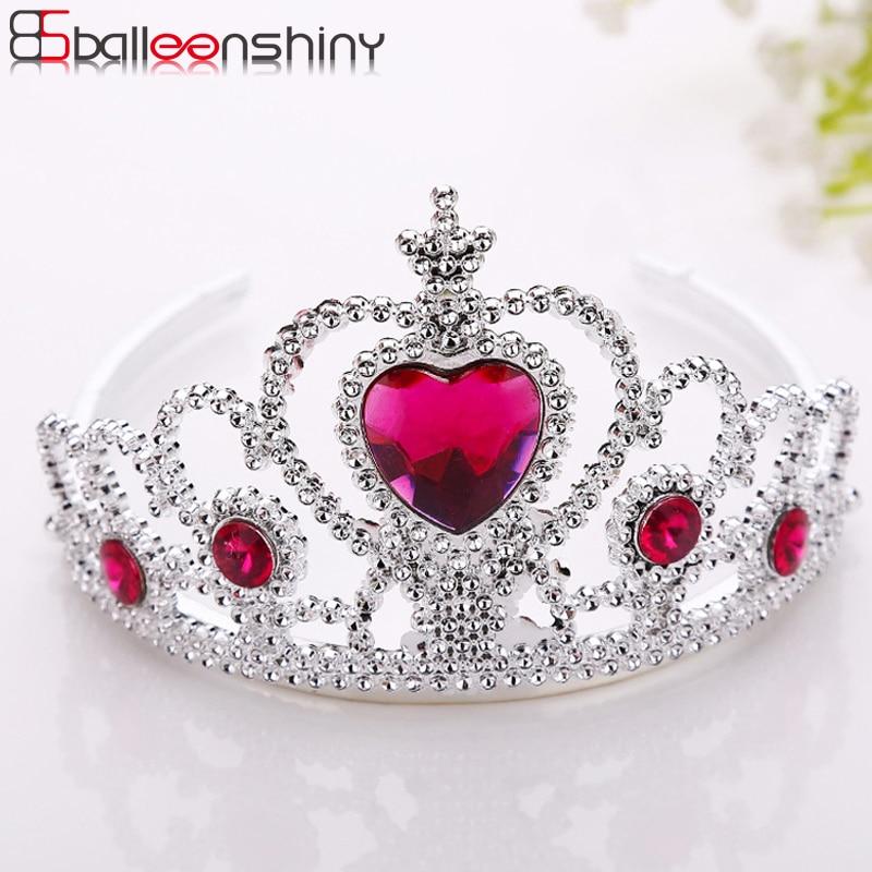 BalleenShiny Princess Crown Headwear Hair Ornament Baby Girls Fashion Silver Plastic Hair Accessories Children Kids Photo Prop