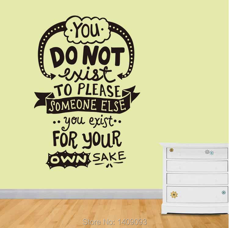 creative new design wall decals quotes you exist for your own sake words vinyl stickers 43
