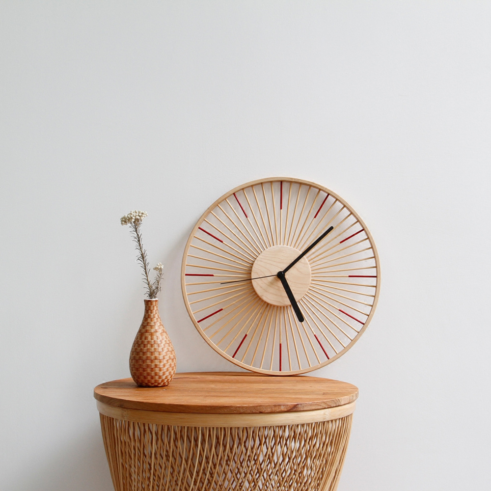 13 Inches DIY Handmade Vintage Large Bamboo & Wooden Wall Clock Brief Modern Design Home Decor Living Room Decoration Big Watch