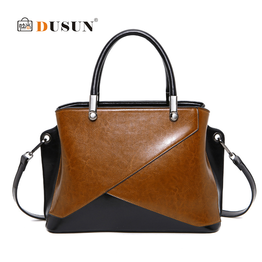 DUSUN Patchwork Casual Women Designer Cattle Split Leather Totes Women Handbag Crossbody Bags High Quality Ladies Shoulder Bag luxury brand women split leather handbag high quality pu leather shoulder bag large capacity totes cattle split hand bag for mom