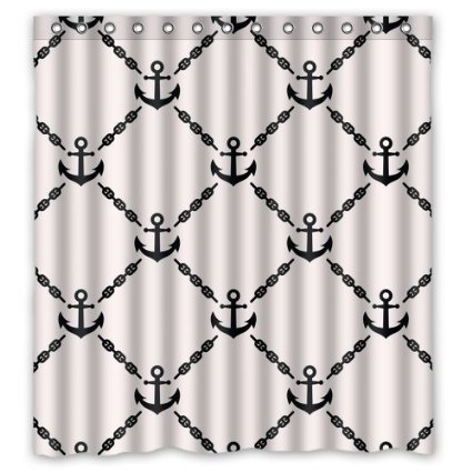 Fashionable Pattern With Sailor Anchors Bathroom Waterproof Polyester Fabric Shower Curtain 36 X 72 Inch Bath