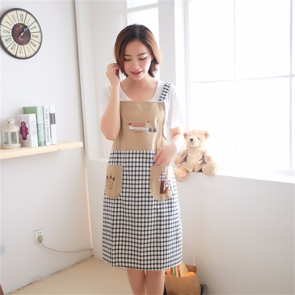 White apron ladies - Kitchen Waterproof Halterneck Apron Dress Lattice Pattern Backing Cooking Dress With Two Pockets For Chefs Housewife