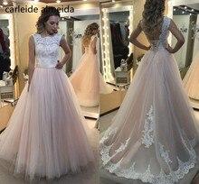 Vestidos de Novia A Linha Árabe Do Vestido de Casamento Sexy Back Lace Apliques Baratos Vestidos de Noiva Hochzeitskleid Robe de Mariee