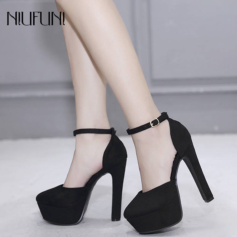 Platform Pumps Spike-Heels Party-Shoes Ankle-Strap Spring 14cm Beige Suede Black Autumn