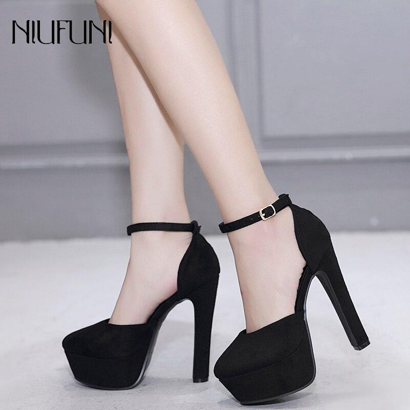 2019 Spring Autumn Suede Shoes Women Fashion High Heels 14cm Spike Heels Ankle Strap Black Beige Platform Pumps Party Shoes