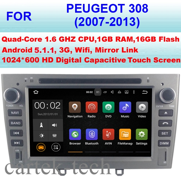 quad core android 5 1 1 car radio gps for peugeot 308 car dvd player 2007 2013 stereo audio. Black Bedroom Furniture Sets. Home Design Ideas
