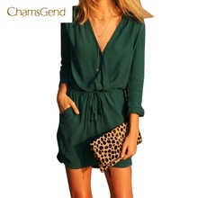 CHAMSGEND Drop Shipping 2017 New Fashion Summer Women Casual V-Neck Green Solid Long Sleeve Chiffon Evening Mini Dress JUN20(China)