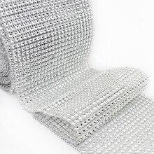 12cm * 91,5 cm Bling Diamant Mesh Rolle Acryl Bänder Party Geburtstag Hochzeit DIY Dekorationen Tisch Kuchen Wrap Kristall tüll