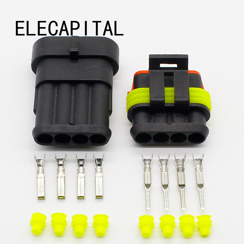 Wholesale 5 Sets NEW Car Auto 4 Pin Way Sealed Waterproof Electrical Wire Connector Plug Set