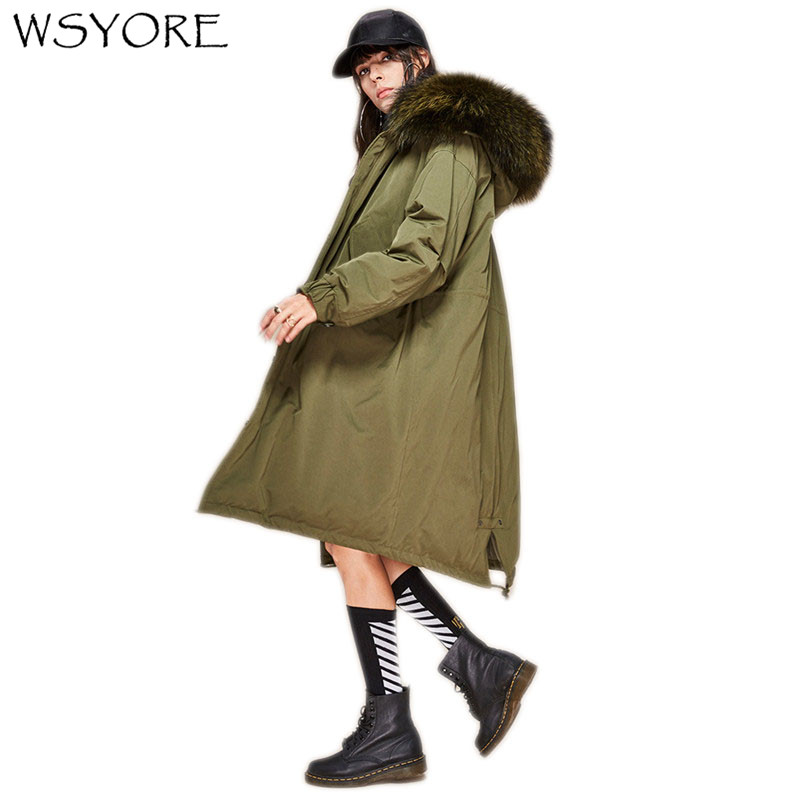 WSYORE Women   Down   Jacket Long Fur Collar Jacket Large Size Loose Hooded   Down   Jacket Thick Duck   Down     Coat   Jacket Women NS484