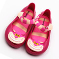 kids shoes 2017 Cute Toddle Girls Jelly shoes PVC Flat Baby sandals Cartoon Alice Cheshire cat Soft leather Kids Girls sandals