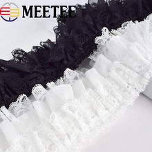 2Meters Black White Ribbon Ruffle Pleated Lace Trim Flower Collar Garment Skirt Decoration Trimming DIY Sewing AccessoriesKY2145 asymmetric ruffle trim ditsy skirt