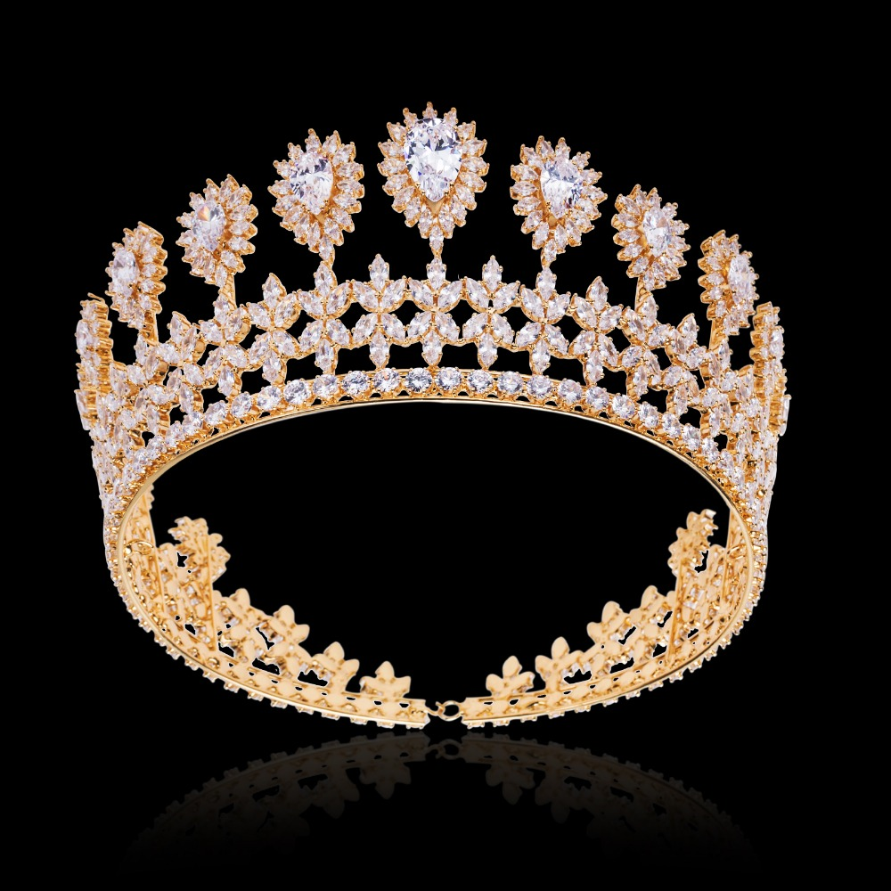Marquise Zircon Flower Crown Tiara Sparkly Gold Color Coronet Headband AAA Cubic Zirconia Hair Jewelry for Wedding Headband Gift 10pcs lot faux flower nylon headband mini flower crown newborn headband