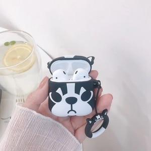 Image 2 - Cute Cartoon Bulldog Earphone Headset Accessories TPU soft case For Airpods Wireless 1 2 Bluetooth Headset bags