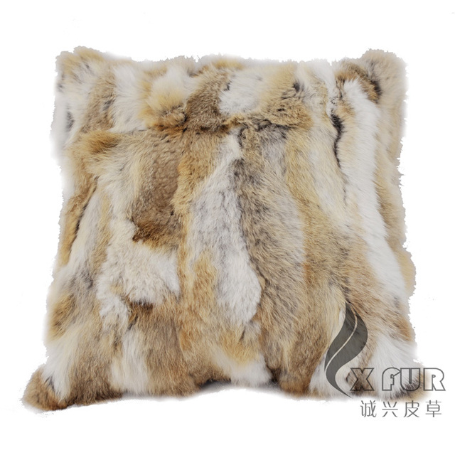 Free Shipping CX-D-17 Soft&Warm Real Rabbit Fur Patchwork Pillow Case ~DROP SHIPPING