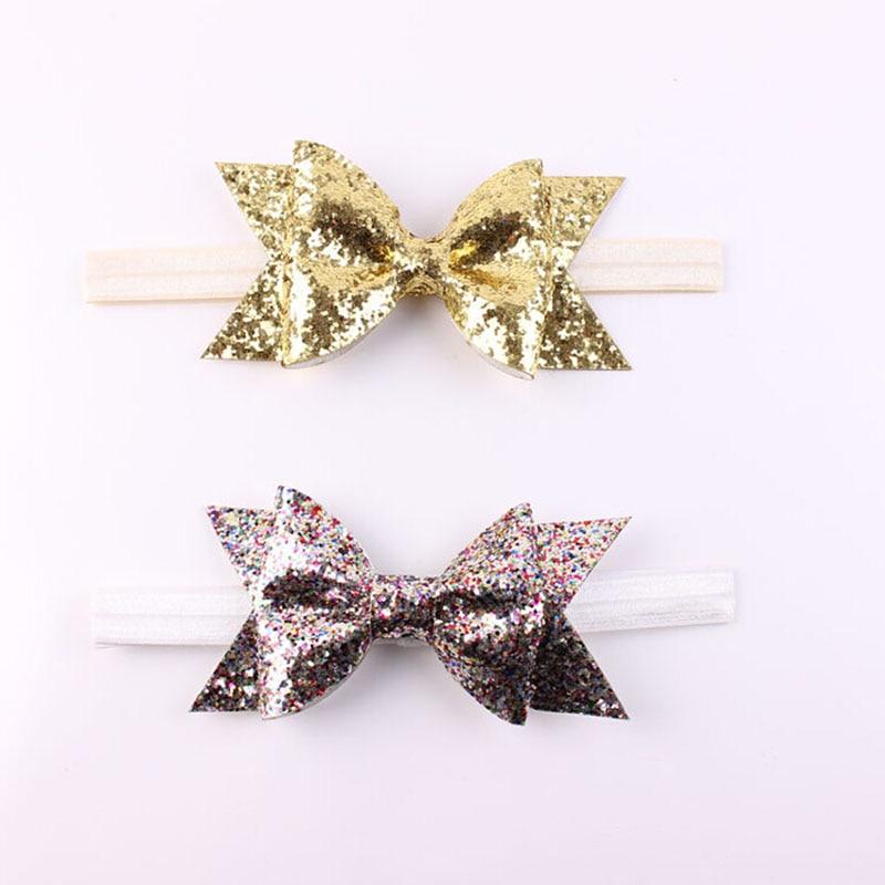 1 Pcs Gold Glitter Bow Headband For Kids Glitter Fabric Bow Bowknot Newborn   Headwear   Hair Bands Accessories