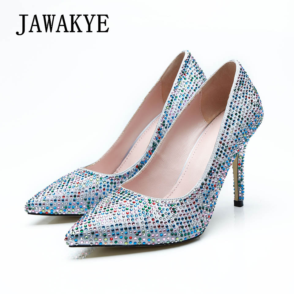 Fashion Crystal Bridal Wedding Shoes Woman Colorful Rhinestone Point toe High quality Women Pumps ladies Sexy High heel Shoes цена 2017