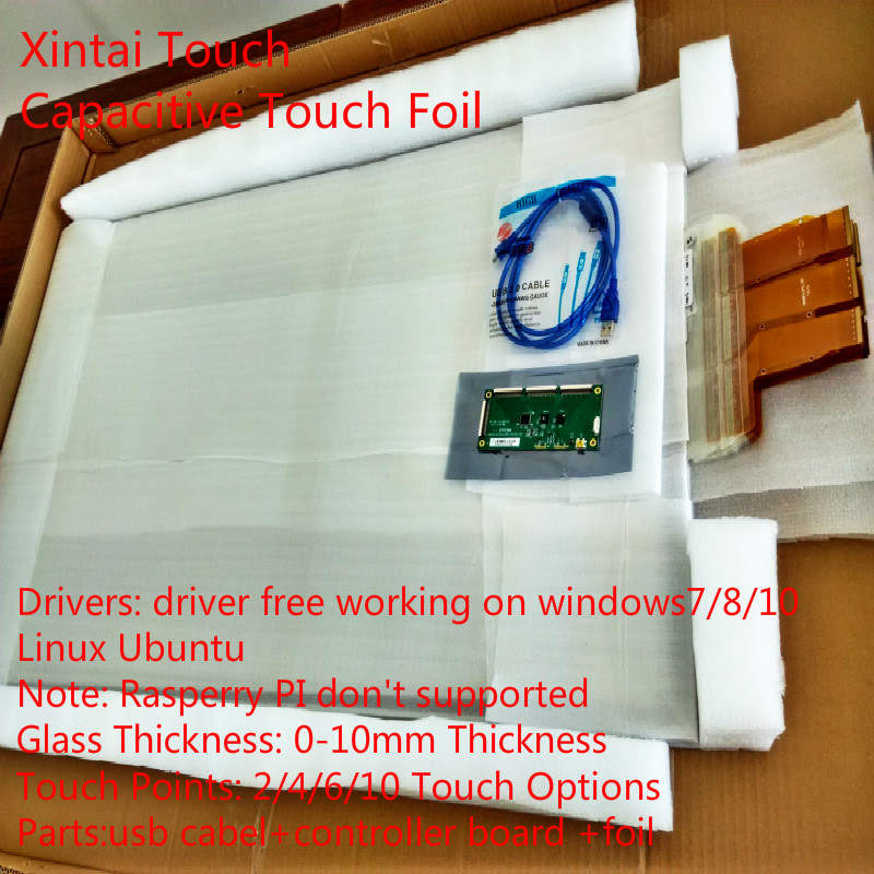 Feuille tactile Interactive de 50 pouces 10 points, film tactile interactif, film tactile à travers la fenêtre en verre format 169