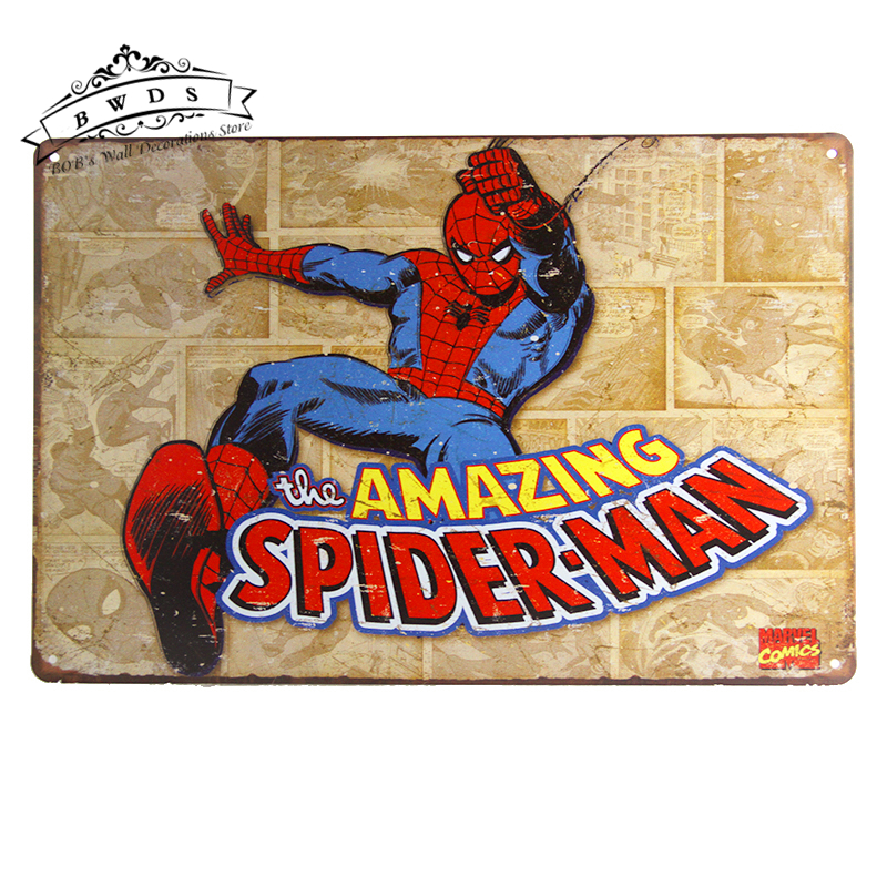 <font><b>Metal</b></font> <font><b>Tin</b></font> <font><b>signs</b></font> Superhero Amazing <font><b>Spiderman</b></font> <font><b>Retro</b></font> Panels Man Cave Garage 20*30CM